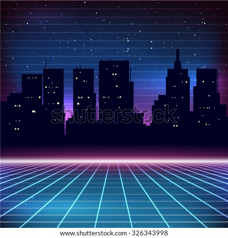 80s Retro Sci-Fi Background with city silhouette - stock vector