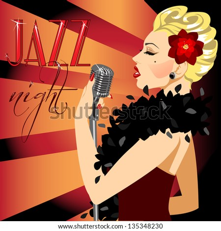 40s, 50s Party Invitation with abstract singing woman and sample text. Poster. - stock vector