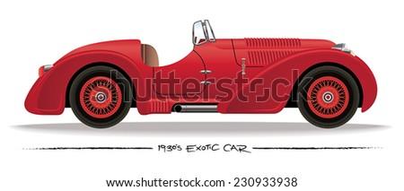 1930s Sports Car - stock vector