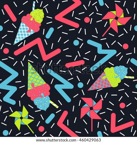 80's Summer Pattern - Funky seamless retro pattern featuring ice cream cones and pinwheels with a confetti background