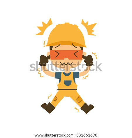 safety first, health and safety, Earache vector illustration - stock vector