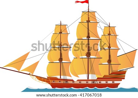 Sailed Ship on water wave, isolated on white vector illustration  - stock vector