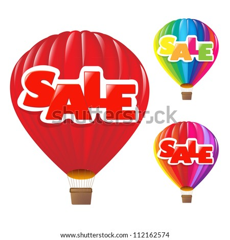 3 Sale Air Balloon, Isolated On White Background, Vector Illustration - stock vector
