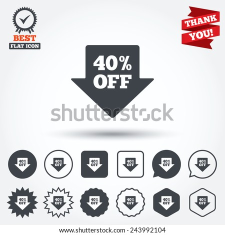 40% sale arrow tag sign icon. Discount symbol. Special offer label. Circle, star, speech bubble and square buttons. Award medal with check mark. Thank you. Vector - stock vector