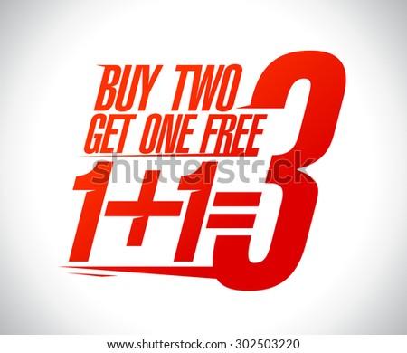 1+1=3 sale design illustration. - stock vector