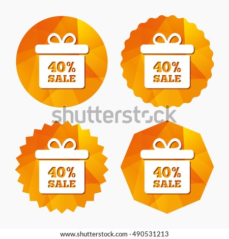 40% sale gift box tag sign icon. Discount symbol. Special offer label. Triangular low poly buttons with flat icon. Vector
