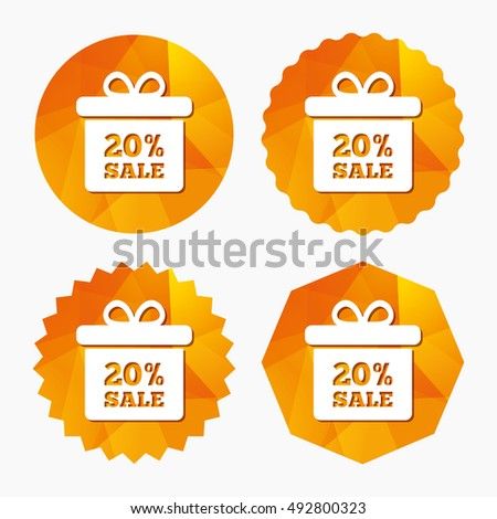 20% sale gift box tag sign icon. Discount symbol. Special offer label. Triangular low poly buttons with flat icon. Vector