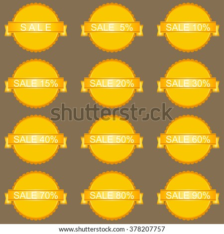 Sale Tags with sale 10 - 90 percent. Vector image.