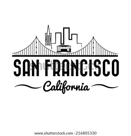 San Francisco Golden gate bridge and tram - stock vector