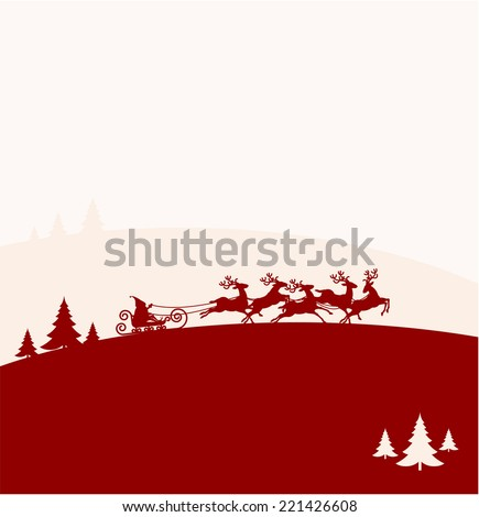 Santa Claus Driving in a Sledge. Christmas vector background. - stock vector