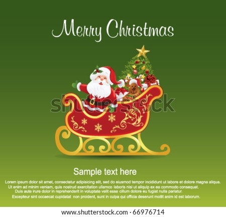 Santa Claus in his sleigh. - stock vector