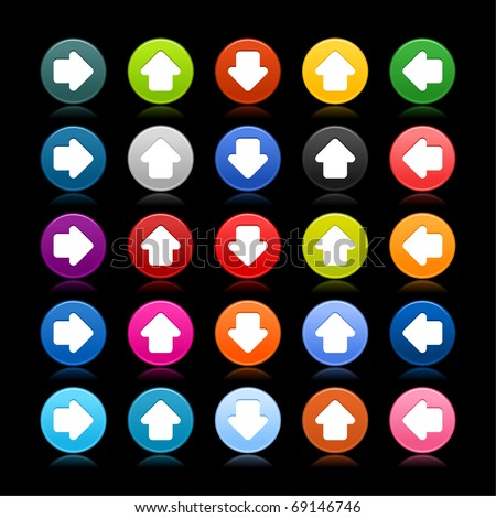 25 satined web 2.0 button with arrow sign. Colored round shape with reflection on black background - stock vector