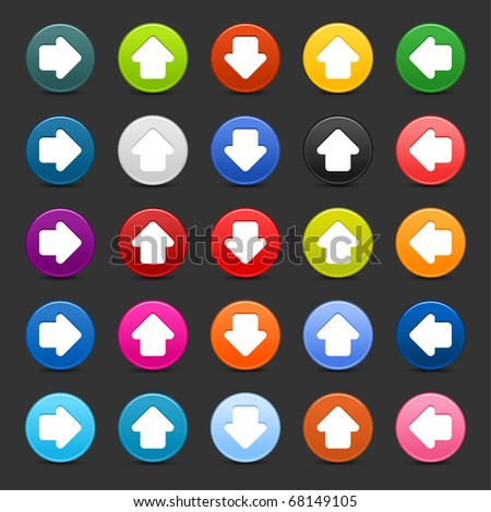 25 satined web 2.0 button with arrow sign. Colorful round shapes with shadow on gray background - stock vector