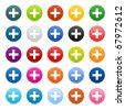 25 satined web 2.0 button with cross sign. Colored round shapes with shadow on white - stock vector