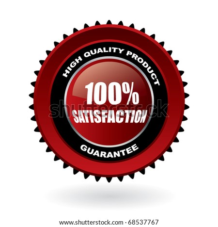 100% satisfaction guarantee vector emblem with reflection - stock vector