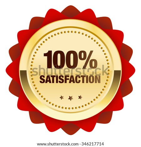 100% satisfaction guaranteed seal or icon. Glossy golden seal or button with stars and red color.