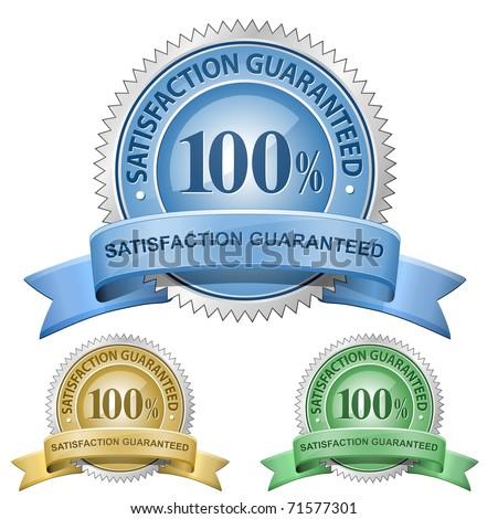 100% Satisfaction Guaranteed Signs. Vector - stock vector