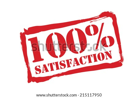 100% SATISFACTION red rubber stamp vector over a white background. - stock vector
