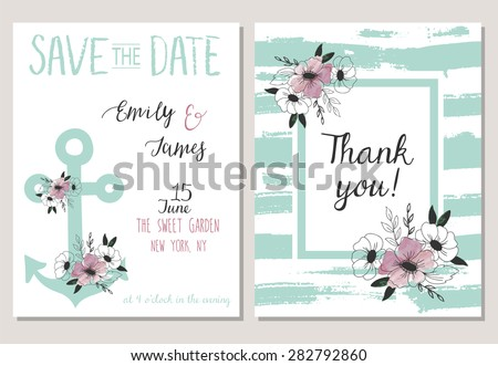 2 save the date cards template collection. Summer ocean flowers bouquets set. Nautical sea wedding elements. Wedding, marriage, bridal shower, birthday. Vector illustration - stock vector