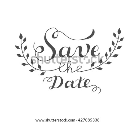 """Save the date"" wedding design template with ornate elements"