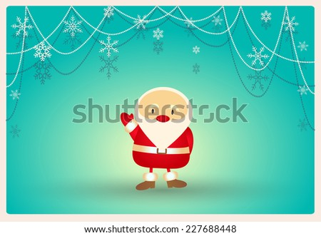 scenic winter blue background with Santa Claus and beads and snowflakes or card for greetings and invitations - stock vector