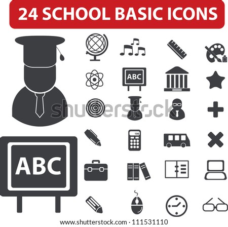 24 school basic icons set, vector - stock vector