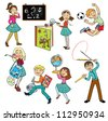 school children,vector set of images isolated on white background - stock photo