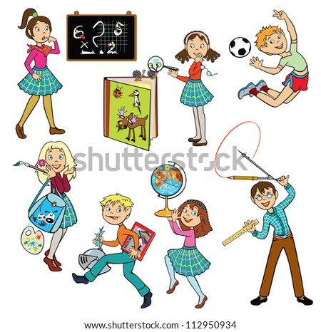 school children,vector set of images isolated on white background - stock vector