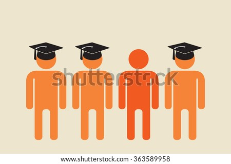 school dropout standing with people in graduation caps - stock vector