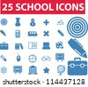 25 school icons set, vector - stock vector