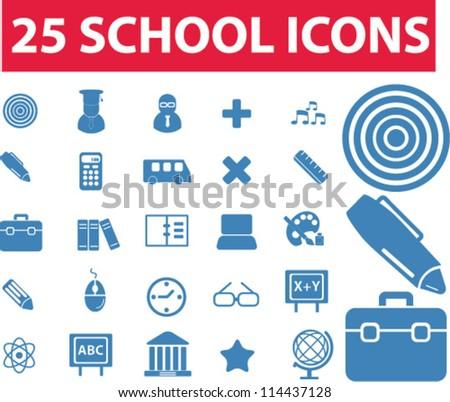 25 school icons set, vector - stock vector