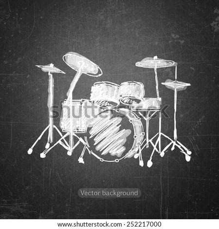 school sketches drum kit on blackboard, vector background - stock vector