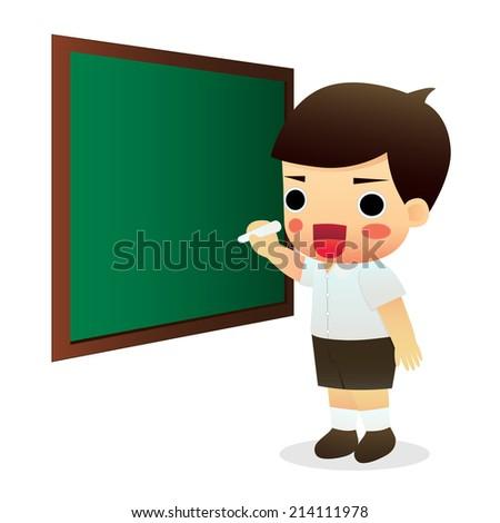 school student writing with chalk on the school blackboard - stock vector