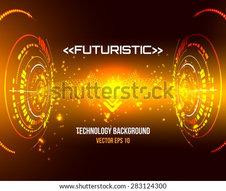 Sci fi Futuristic user interface, HUD, technology vector background - stock vector