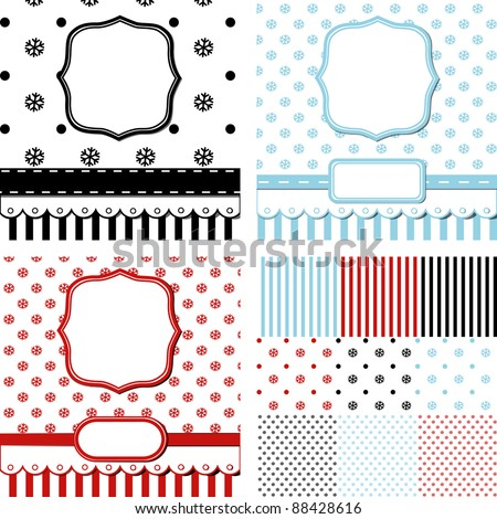3 scrap templates of pretty christmas vintage design with blank space for your text and set of seamless using in designs (eps10) - stock vector