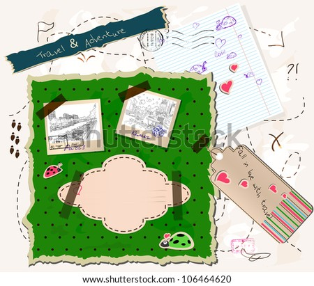 scrapbooking set with map, stamps and photo frames. vector illustration EPS10