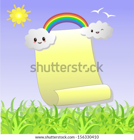.Scroll to recording with the clouds, a rainbow and the sun. - stock vector