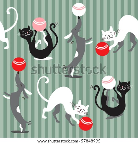 Seamless baby background with cats and dogs - stock vector