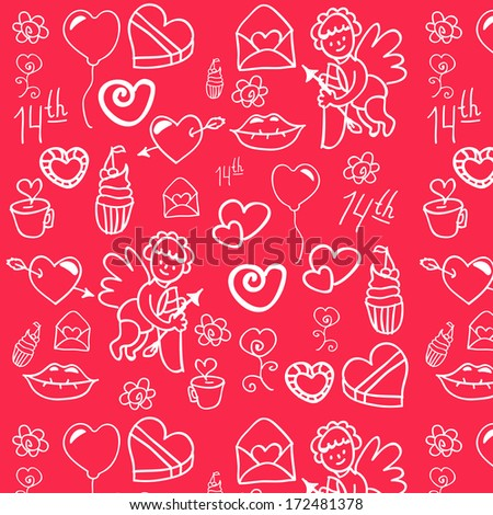 Seamless background for the execution of the gift, the site for Valentine's day. Against the background of the letter, Valentine balloon, lips, heart, Cupid arrows