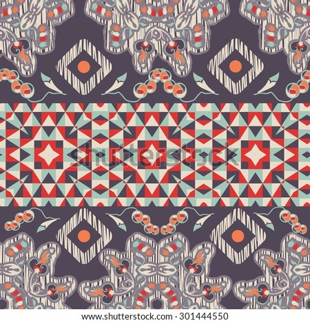 Seamless background in ethnic style with geometric and floral elements - stock vector