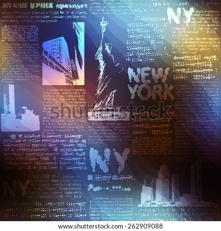 Seamless background pattern. Pattern New York on blurred background. - stock vector