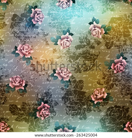 Seamless background pattern. Vintage grunge pattern with roses on blurred background. - stock vector