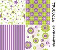 4 seamless background textures in violet and green colors - stock vector