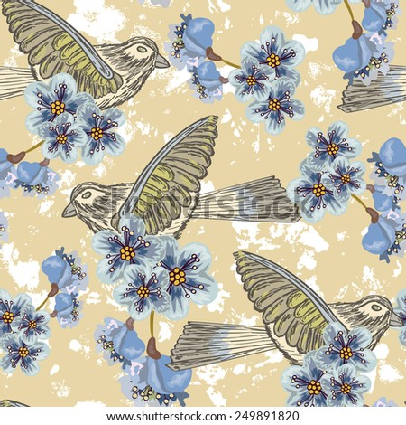 Seamless background with birds and flowers - stock vector