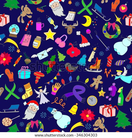 Seamless background with simple hand-drawn icons on the theme of winter holidays