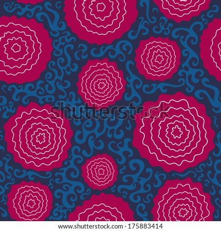 seamless blue  pattern with abstract pink flowers - stock vector