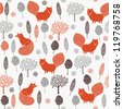 Seamless Christmas pattern with a red fox - stock vector