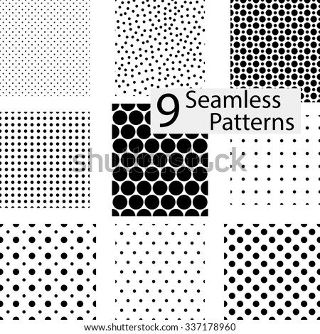 9 Seamless dotted patterns. eps10 - stock vector