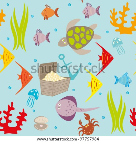 Seamless drawing with sea animals,small fishes,vials. - stock vector