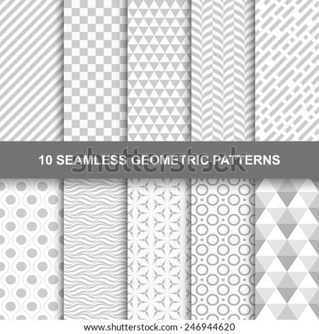 10 Seamless geometric patterns. Grey and white texture - stock vector